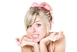 Young beautiful blond woman with pink bow apologizing