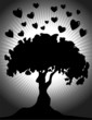 Illustration of tree in a love symbols