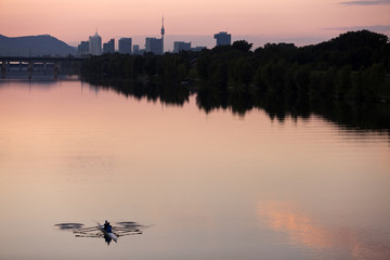 rowing at dusk after works