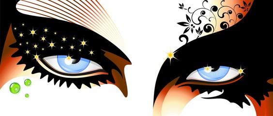 Occhi Blu Truccati-Blue Eyes Make Up-Vector