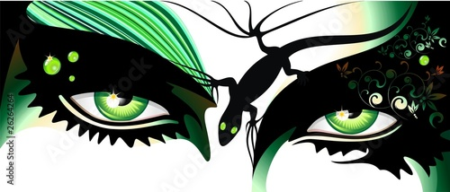 Occhi Verdi Tatuaggio-Green Eyes Tattoo-Vector