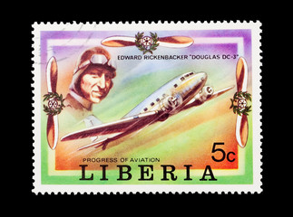 Liberian stamp featuring aviation pioneer Edward Rickenbacker