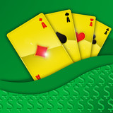 Golden playing cards on green background