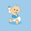 Tarjeta bebe con biberón