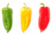 Multicolored peppers isolated on white background