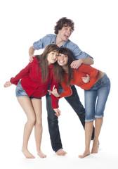 groupe de 3 jeunes ados positifs