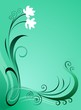 Green colour wave and floral design