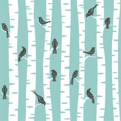fototapeta wzór drzewa i ptaki