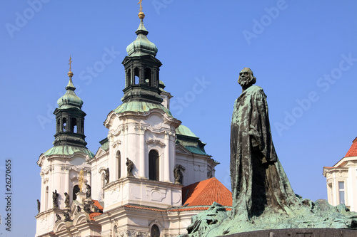 Monument of Jan Hus on the Oldtown Square in Prague