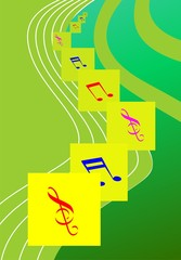Illustration of music note in a green colour background