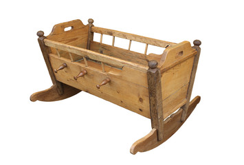 old folk wooden cradle