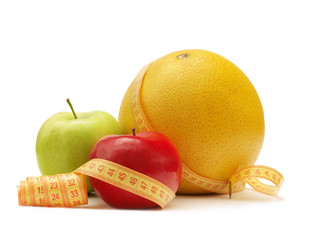 Fruits with measuring instrument