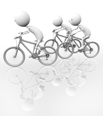 3d bicyclist riding on distillation, on a white background.