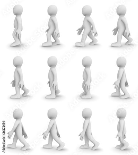 3d walking cycle (12 frames character animation)