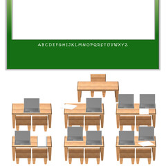 classroom with board, laptop