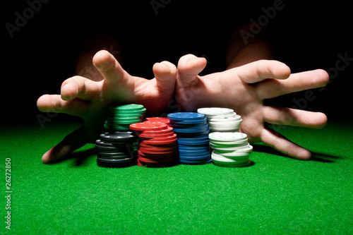 All In (Male Hands Pushing Poker Chips)