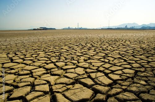 Fotobehang Droogte 乾燥した大地と煙突