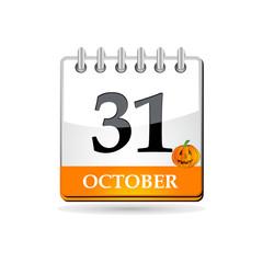 Halloween calendar with pumpkin