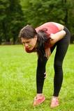 Calf injury - sportswoman in pain poster