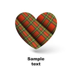 Royal Stewart tartan in shape of heart