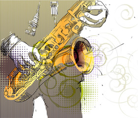 jazzman in a striped suit with a golden saxophone