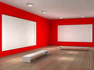 a empty museum room with frame for picture