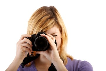 woman with single-lens reflex camera (white background)