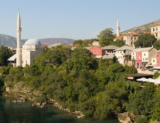Mosque and Colorful Shops in Mostar, Bosnia