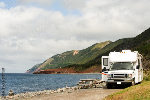 RV at picnic area, Cape Breton, Nova Scotia
