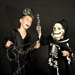 two boys celebrating halloween