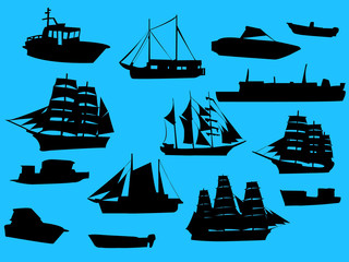 collection of ships silhouette vector