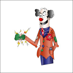 cartoon evil clown, vector