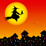 Halloween background silhouette of a witch flying in a broom