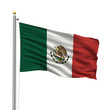 Flag of Mexico waving in the wind in front of white background