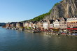 The village and the river with tourist, Dinant city, Belgium