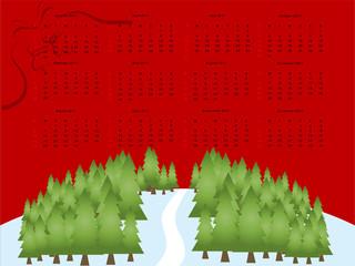 2011 editable vector calendar on red christmas theme