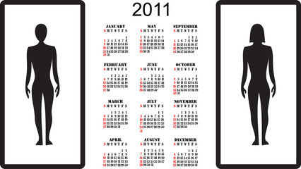 2011 vector calendar with man and woman silhouettes