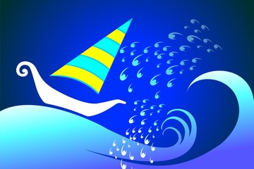 Illustration of sailing boat in a colour background
