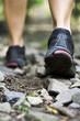 Trail walking, woman workout outdoors