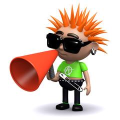 3d Punk rocker communicates
