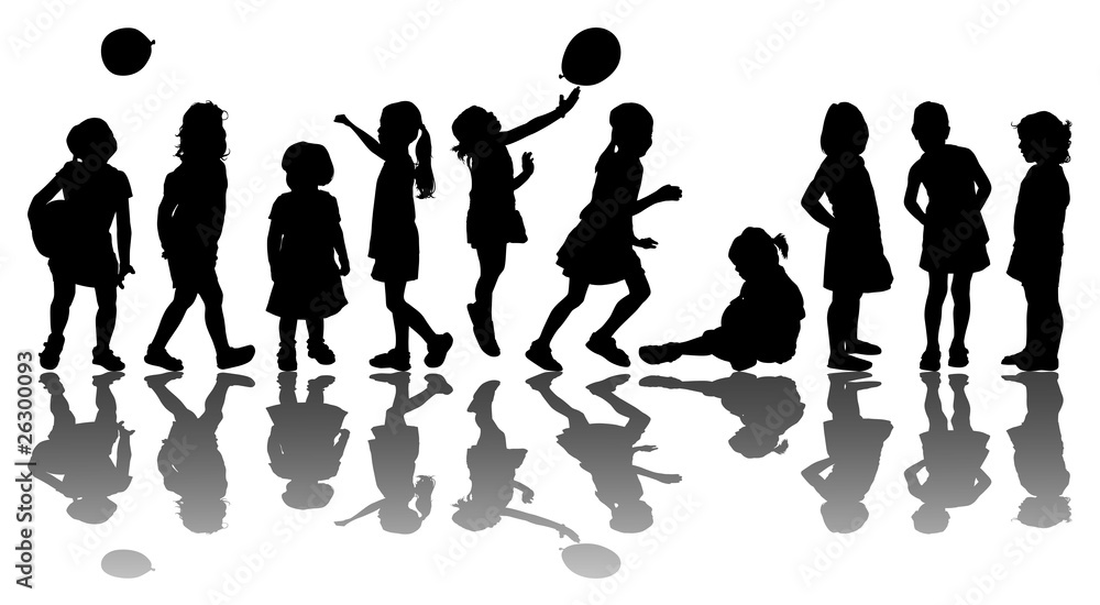 wall stickers bambine : ... Of 10 Kids Silhouette Di 10 Bambini Wall Sticker Wall Stickers