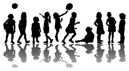 Silhouettes of 10 kids - Silhouette di 10 bambini