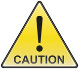 Triangular caution vector hazardous sign poster