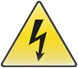 Electric hazard triangular vector sign poster