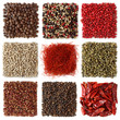 Assortment of peppercorns and chili