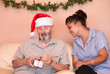 christmas holiday senior with carer or grandchild