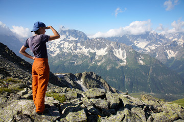Girl looking to far mountains