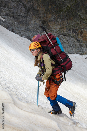 Mountaineer girl in a mountains