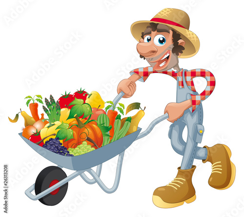 Peasant with wheelbarrow and vegetables. Vector isolated objects