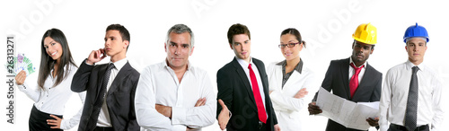 Group of business people in a line row isolated